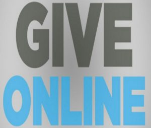 My Victory Church Logo Header grey background black letters give and blue letters online