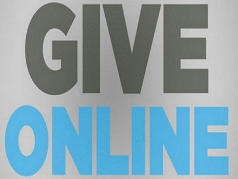 My Victory Church online giving grey background black letters give and blue letters online